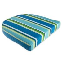 Stripe Outdoor Wicker Seat Cushion in Ocean