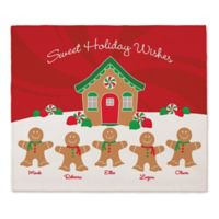Gingerbread Family Throw Blanket in Red