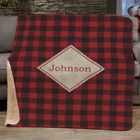 Cozy Cabin Personalized Buffalo Check Full/Queen Throw Blanket in Red