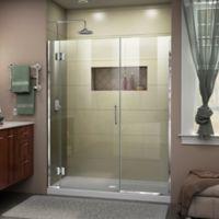 """DreamLine Unidoor-X 59.5-60"""" W x 72"""" H Frameless Hinged Shower Door in Chrome"""
