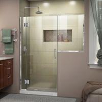 """DreamLine Unidoor-X 56-56.5"""" W x 72"""" H Frameless Hinged Shower Door in Chrome"""