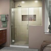 """DreamLine Unidoor-X 56-56.5"""" W x 72"""" H Frameless Hinged Shower Door in Brushed Nickel"""