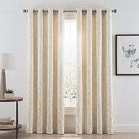 Acanthus Grommet Room Darkening 95-Inch Window Curtain Panel in Ivory