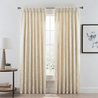 Acanthus Pinch Pleat/Back Tab Room Darkening 95-Inch Window Curtain Panel in Ivory