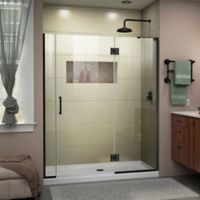 "DreamLine Unidoor-X 59.5-60"" W x 72"" H Frameless Shower Door in Satin Black, Right Wall Inst."