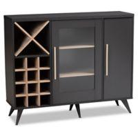 Baxton Studio Jovana 24-Bottle Wine Cabinet in Dark Grey/Oak