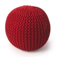Butler Specialty Company Wool Upholstered Pouf Ottoman in Red