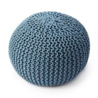 Butler Specialty Company Wool Upholstered Pouf Ottoman in Blue