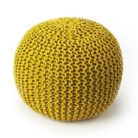 Butler Specialty Company Wool Upholstered Pouf Ottoman in Yellow