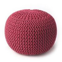 Butler Specialty Company Wool Upholstered Pouf Ottoman in Pink