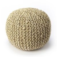 Butler Specialty Company Wool Upholstered Pouf Ottoman in Beige