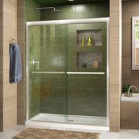 """DreamLine Duet 56-60"""" W x 72"""" H Semi-Frameless Bypass Sliding Shower Door in Brushed Nickel"""