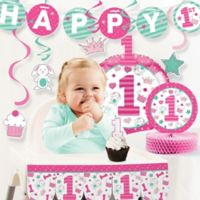 Creative Converting™ 10-Piece Doodle 1st Birthday Girl Party Supplies Kit