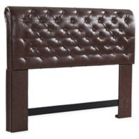 Dwell Home Chesterfield Full/Queen Faux Leather Headboard in Brown