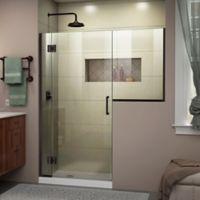 """DreamLine Unidoor-X 61-61.5"""" W x 72"""" H Frameless Hinged Shower Door in Oil Rubbed Bronze"""