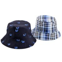 Addie & Tate Newborn Reversible Whale/Plaid Bucket Hat in Blue