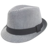 Addie & Tate Newborn Seersucker Fedora in Grey/White