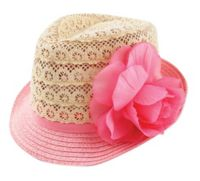 Addie & Tate Newborn Crochet Lace Fedora Hat in Pink