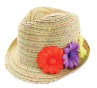 Addie & Tate Toddler Confetti Straw Fedora Hat
