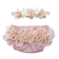 Toby Fairy™ 2-Piece Flowers with Gems Headband and Diaper Cover Set in Pink