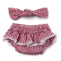 Toby Fairy™ 2-Piece Gingham Check Headband and Diaper Cover Set in Red