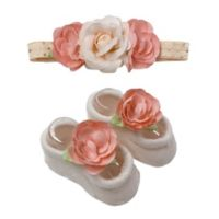 Toby Fairy™ 2-Piece Roses and Dots Headband and Foot Wrap Set in Coral