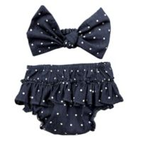 Toby Fairy™ 2-Piece Denim Dot Headband and Diaper Cover Set in Blue