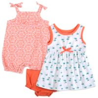 Baby Essentials Size 3M 3-Piece Palm Tree Dress, Romper, and Diaper Cover Set in Coral