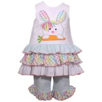 Bonnie Baby 0-3M Bunny Head 3-Tier Dress Set in Multicolor