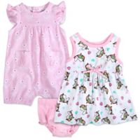 Baby Essentials Size 6M 3-Piece Unicorn Dress, Romper, and Diaper Cover Set in Pink