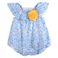 Baby Essentials® Size 12M Daisy Ruffle Shoulder Romper in Blue