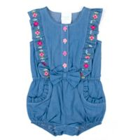 Nanette Baby® Size 6-9M Flower Embroidered Romper in Blue