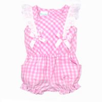 Nanette Baby® Size 12M Plaid Eyelet Romper in Pink