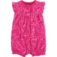 carter's® Size 6M Heart Snap-Up Romper in Pink