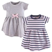 Touched by Nature Size 9-12M 2-Pack Short Sleeve Dresses in Grey