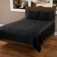 Rizzy Home Satinology King Quilt Set in Black