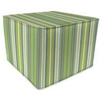 Stripe Outdoor 20-Inch Square Pouf/Ottoman in Sunbrella® Foster Surfside