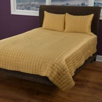 Rizzy Home Satinology Queen Quilt Set in Gold