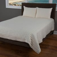 Rizzy Home Satinology King Quilt Set in Ivory