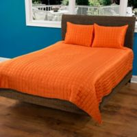 Rizzy Home Satinology Queen Quilt Set in Orange