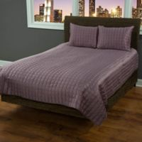 Rizzy Home Satinology King Quilt Set in Purple