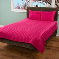 Rizzy Home Satinology King Quilt Set in Pink