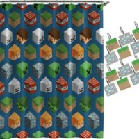 Minecraft Isometric Shower Curtain and Hooks Set
