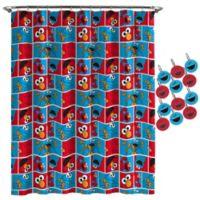 Sesame Street® Elmo Cookie Shower Curtain and Hooks Set