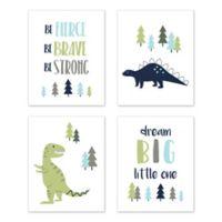 Sweet Jojo Designs® Mod Dinosaur 8-Inch x 10-Inch Wall Art (Set of 4)