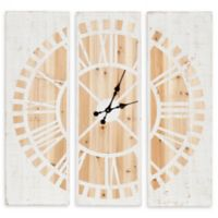 Kate and Laurel Piedmont 3-Panel 36-Inch Square Wall Clock in White