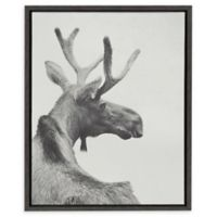 Kate and Laurel Sylvie Moose Back 18-Inch x 24-Inch Framed Canvas Wall Art