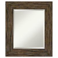 Amanti Art Fencepost Brown 23-Inch x 27-Inch Framed Bathroom Mirror
