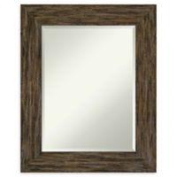 Amanti Art Fencepost Brown 25-Inch x 31-Inch Framed Bathroom Mirror