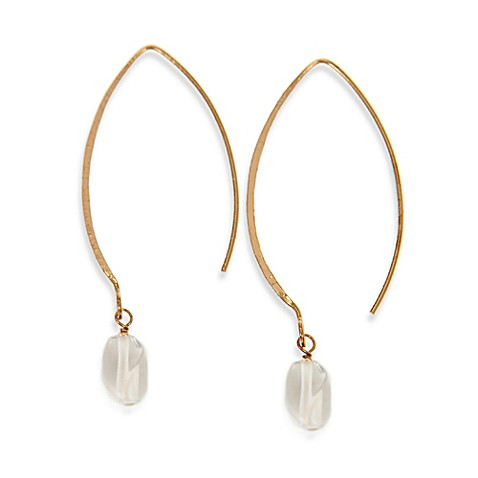Charlene K 14K Gold Vermeil Oval Hook Gemstone Earrings in Crystal